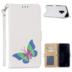Imprint Embossing Butterfly Leather Wallet Case for Samsung Galaxy S9 Plus(S9+) - White