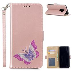 Imprint Embossing Butterfly Leather Wallet Case for Samsung Galaxy S9 Plus(S9+) - Rose Gold
