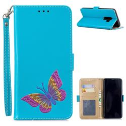 Imprint Embossing Butterfly Leather Wallet Case for Samsung Galaxy S9 Plus(S9+) - Sky Blue