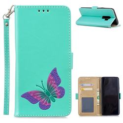 Imprint Embossing Butterfly Leather Wallet Case for Samsung Galaxy S9 Plus(S9+) - Mint Green