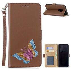 Imprint Embossing Butterfly Leather Wallet Case for Samsung Galaxy S9 Plus(S9+) - Brown