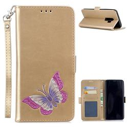Imprint Embossing Butterfly Leather Wallet Case for Samsung Galaxy S9 Plus(S9+) - Golden