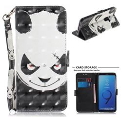 Angry Bear 3D Painted Leather Wallet Phone Case for Samsung Galaxy S9 Plus(S9+)
