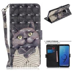 Cat Embrace 3D Painted Leather Wallet Phone Case for Samsung Galaxy S9 Plus(S9+)