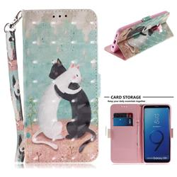 Black and White Cat 3D Painted Leather Wallet Phone Case for Samsung Galaxy S9 Plus(S9+)