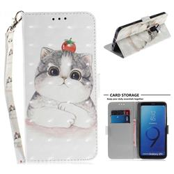 Cute Tomato Cat 3D Painted Leather Wallet Phone Case for Samsung Galaxy S9 Plus(S9+)