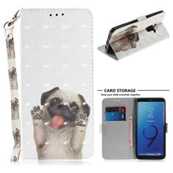 Pug Dog 3D Painted Leather Wallet Phone Case for Samsung Galaxy S9 Plus(S9+)