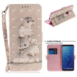 Three Squirrels 3D Painted Leather Wallet Phone Case for Samsung Galaxy S9 Plus(S9+)