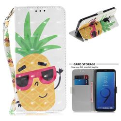 Pineapple Glasses 3D Painted Leather Wallet Phone Case for Samsung Galaxy S9 Plus(S9+)