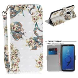 Dragon Flower 3D Painted Leather Wallet Phone Case for Samsung Galaxy S9 Plus(S9+)