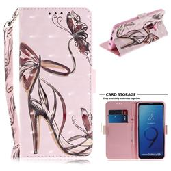 Butterfly High Heels 3D Painted Leather Wallet Phone Case for Samsung Galaxy S9 Plus(S9+)