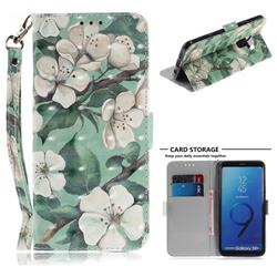 Watercolor Flower 3D Painted Leather Wallet Phone Case for Samsung Galaxy S9 Plus(S9+)