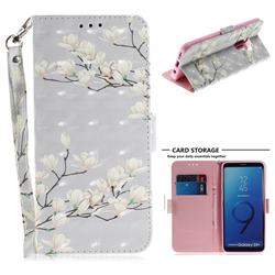 Magnolia Flower 3D Painted Leather Wallet Phone Case for Samsung Galaxy S9 Plus(S9+)