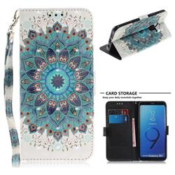 Peacock Mandala 3D Painted Leather Wallet Phone Case for Samsung Galaxy S9 Plus(S9+)