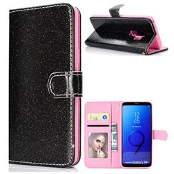 Glitter Shine Leather Wallet Phone Case for Samsung Galaxy S9 Plus(S9+) - Black