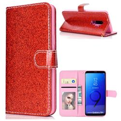 Glitter Shine Leather Wallet Phone Case for Samsung Galaxy S9 Plus(S9+) - Red