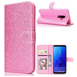 Glitter Shine Leather Wallet Phone Case for Samsung Galaxy S9 Plus(S9+) - Pink