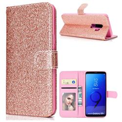 Glitter Shine Leather Wallet Phone Case for Samsung Galaxy S9 Plus(S9+) - Rose Gold