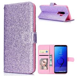 Glitter Shine Leather Wallet Phone Case for Samsung Galaxy S9 Plus(S9+) - Purple