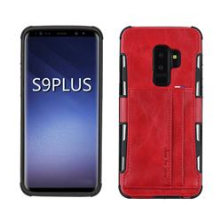 Luxury Shatter-resistant Leather Coated Card Phone Case for Samsung Galaxy S9 Plus(S9+) - Red