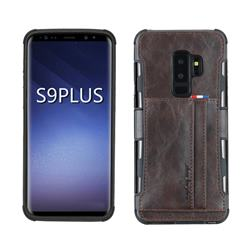 Luxury Shatter-resistant Leather Coated Card Phone Case for Samsung Galaxy S9 Plus(S9+) - Coffee