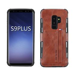 Luxury Shatter-resistant Leather Coated Card Phone Case for Samsung Galaxy S9 Plus(S9+) - Brown