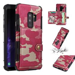 Camouflage Multi-function Leather Phone Case for Samsung Galaxy S9 Plus(S9+) - Rose