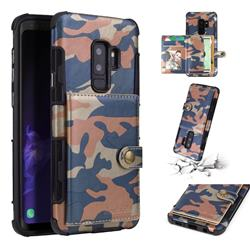Camouflage Multi-function Leather Phone Case for Samsung Galaxy S9 Plus(S9+) - Blue