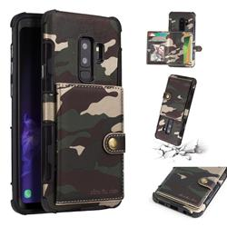Camouflage Multi-function Leather Phone Case for Samsung Galaxy S9 Plus(S9+) - Army Green