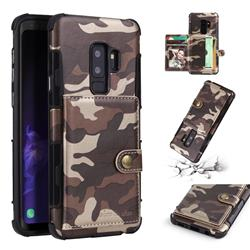Camouflage Multi-function Leather Phone Case for Samsung Galaxy S9 Plus(S9+) - Coffee