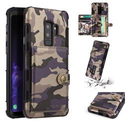 Camouflage Multi-function Leather Phone Case for Samsung Galaxy S9 Plus(S9+) - Purple