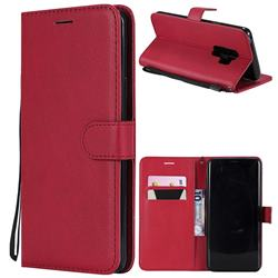 Retro Greek Classic Smooth PU Leather Wallet Phone Case for Samsung Galaxy S9 Plus(S9+) - Red