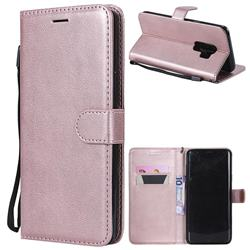 Retro Greek Classic Smooth PU Leather Wallet Phone Case for Samsung Galaxy S9 Plus(S9+) - Rose Gold