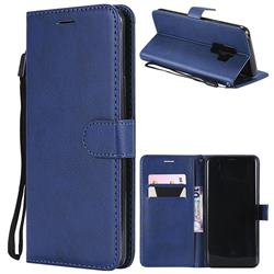 Retro Greek Classic Smooth PU Leather Wallet Phone Case for Samsung Galaxy S9 Plus(S9+) - Blue