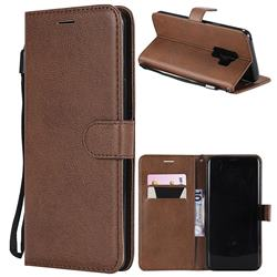Retro Greek Classic Smooth PU Leather Wallet Phone Case for Samsung Galaxy S9 Plus(S9+) - Brown