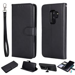 Retro Greek Detachable Magnetic PU Leather Wallet Phone Case for Samsung Galaxy S9 Plus(S9+) - Black