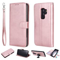 Retro Greek Detachable Magnetic PU Leather Wallet Phone Case for Samsung Galaxy S9 Plus(S9+) - Rose Gold