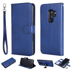 Retro Greek Detachable Magnetic PU Leather Wallet Phone Case for Samsung Galaxy S9 Plus(S9+) - Blue