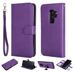 Retro Greek Detachable Magnetic PU Leather Wallet Phone Case for Samsung Galaxy S9 Plus(S9+) - Purple