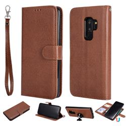 Retro Greek Detachable Magnetic PU Leather Wallet Phone Case for Samsung Galaxy S9 Plus(S9+) - Brown