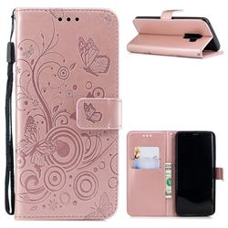 Intricate Embossing Butterfly Circle Leather Wallet Case for Samsung Galaxy S9 Plus(S9+) - Rose Gold