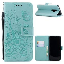 Intricate Embossing Butterfly Circle Leather Wallet Case for Samsung Galaxy S9 Plus(S9+) - Cyan