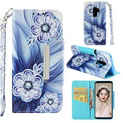 Button Flower Big Metal Buckle PU Leather Wallet Phone Case for Samsung Galaxy S9 Plus(S9+)