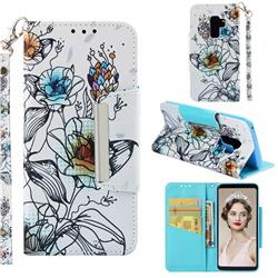 Fotus Flower Big Metal Buckle PU Leather Wallet Phone Case for Samsung Galaxy S9 Plus(S9+)