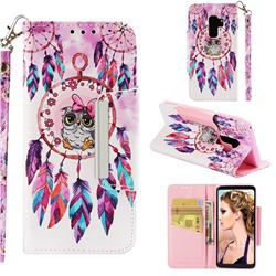 Owl Wind Chimes Big Metal Buckle PU Leather Wallet Phone Case for Samsung Galaxy S9 Plus(S9+)