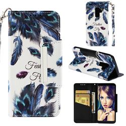 Peacock Feather Big Metal Buckle PU Leather Wallet Phone Case for Samsung Galaxy S9 Plus(S9+)