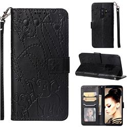 Embossing Fireworks Elephant Leather Wallet Case for Samsung Galaxy S9 Plus(S9+) - Black