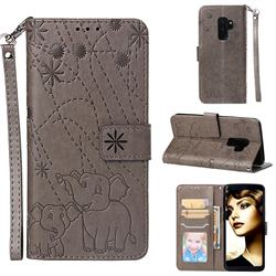 Embossing Fireworks Elephant Leather Wallet Case for Samsung Galaxy S9 Plus(S9+) - Gray