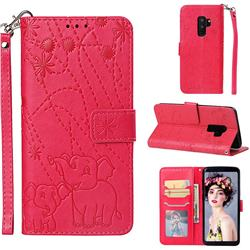 Embossing Fireworks Elephant Leather Wallet Case for Samsung Galaxy S9 Plus(S9+) - Red
