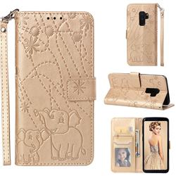 Embossing Fireworks Elephant Leather Wallet Case for Samsung Galaxy S9 Plus(S9+) - Golden